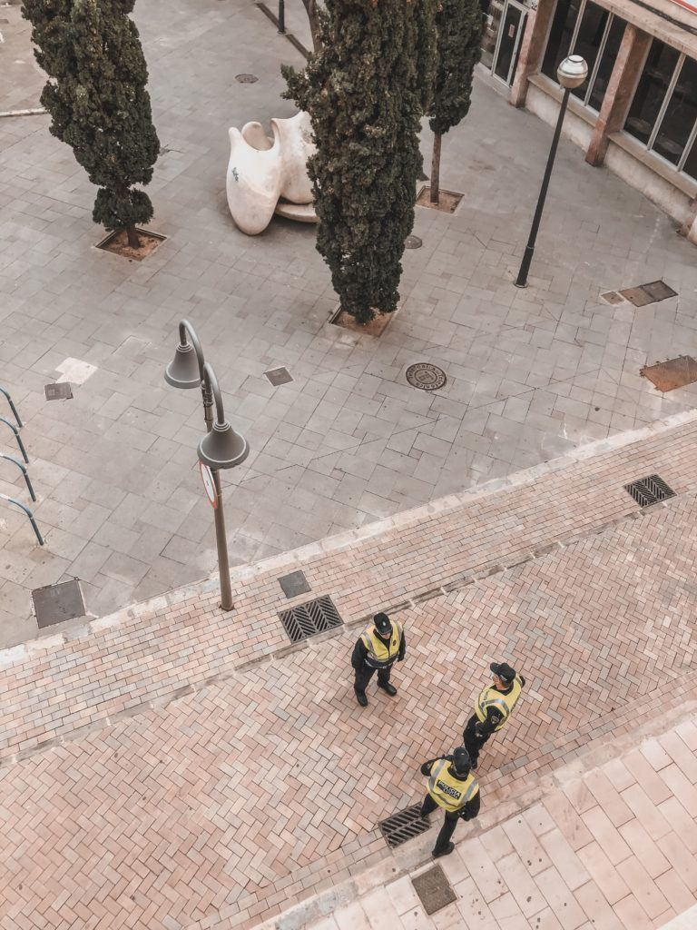 police officers controlling whereabouts during Spanish lockdown